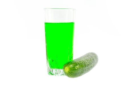 Cucumber cucumber juice on a white background Banco de Imagens