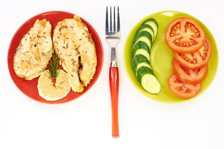 redfish: Fish stew and fresh vegetables on a white background Stock Photo