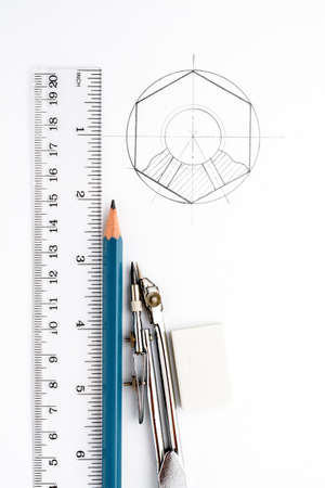 geodesy: Accessories for drawing on a white sheet of paper