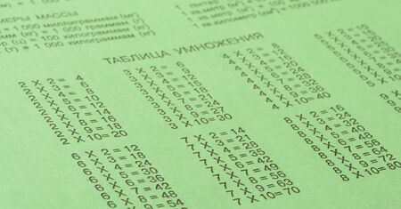 multiplicaci�n: Cuaderno de la escuela verde con las tablas de multiplicar
