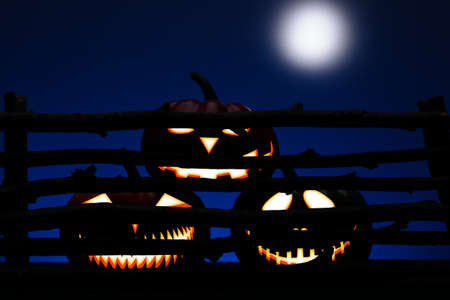 moon gate: Three Halloween pumpkin with scary face behind the old wooden fence Stock Photo