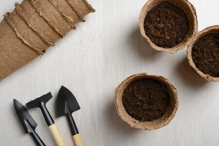 peat pot: Garden tools for planting on a wooden table Stock Photo