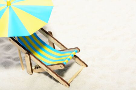 Sunbed on the beach: top view Stock Photo