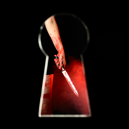 Dark scene of bloodstained woman wearing red stockings holding bloody knife seen through keyhole