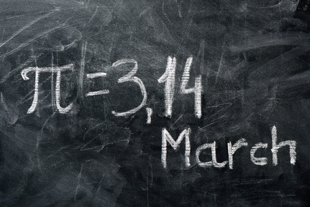 PI day concept. The value of PI and the date written on the blackboard