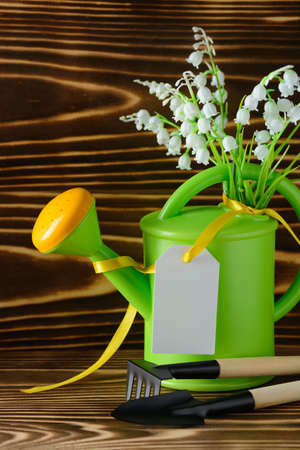 Garden watering can with label and tools for gardening on wooden table