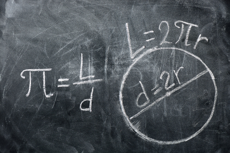 PI day concept. Drawings of circles and formula with the number PI written on a blackboard Archivio Fotografico