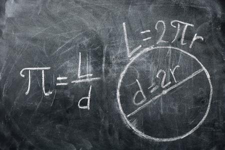 PI 하루 개념입니다. 칠판에 쓰여진 번호 PI를 가진 원 및 수식의 그림