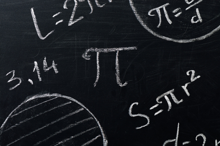 PI day concept. Drawings of circles and formula with the number PI written on a blackboard Stock Photo