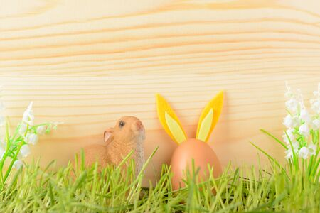 Decorative rabbit and egg, decorated with ears for Easter