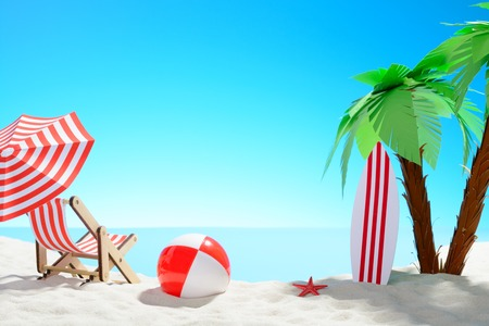 The concept of summer vacation. Beautiful view of the sandy coast with palm trees and holiday accessories