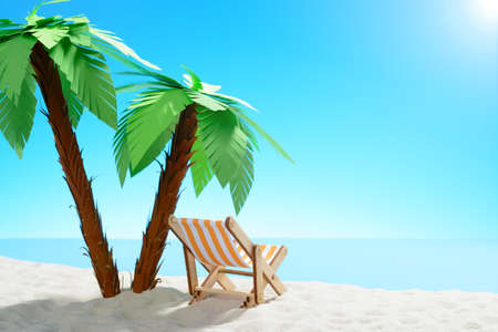Sun lounger under a palm tree on the sandy coast. Sky with copy space Stock Photo