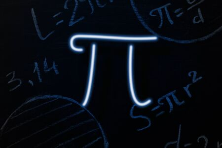 Neon signboard in the form of the sign Pi on the background of the blackboard. Horizontal orientation.