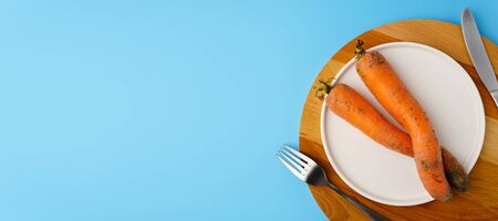 Two ugly carrots of funny shape on a white flat plate, knife and fork, light blue background. Copy space, top view.