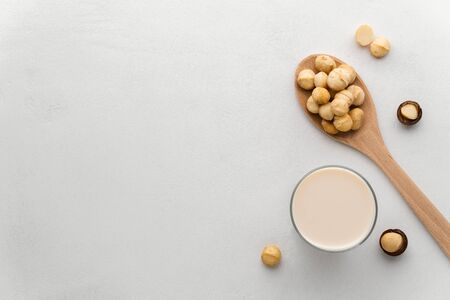 A glass of milk and a wooden spoon with macadamia nuts on a light gray concrete background. Top view, copy space. Dairy products without lactose concept.