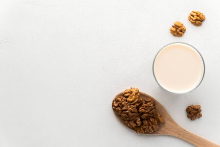 Walnut milk in a glass and a wooden spoon with nuts on a light gray concrete background. Top view, copy space. No lactose and dairy-free milk concept, vegan food. Reklamní fotografie