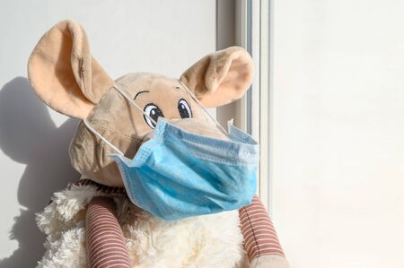 A plush toy rat in a medical protective mask sits on a windowsill and looks out into the street. Sadness and loneliness during quarantine at home. Symbol of 2020. Horizontal orientation, copy space.