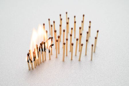 Burning and whole matches on a gray background. The concept of stopping the spread of coronavirus. Keep social distance. Stop 2019-nCov.