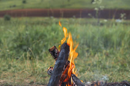 Burning bonfire in nature during the camping. Horizontal orientation, space for text.