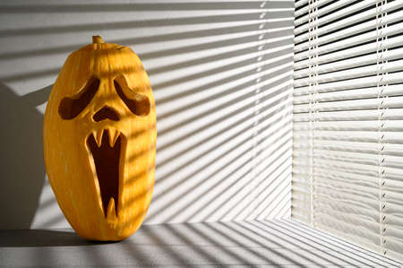 Halloween holiday background. Spooky Halloween pumpkin on the table, illuminated by sunlight through the jalousie. Shadows. Copy space