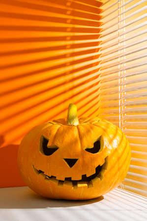 Halloween holiday background. Spooky Halloween pumpkin on a orange background, illuminated by sunlight through the jalousie. Shadows. Copy space, vertical orientation.