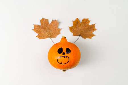 Top view of Halloween pumpkin with painted face and horns from autumn leaves on gray background. Copy Space, Flat Lay.
