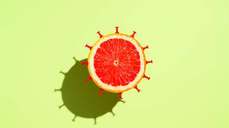 Half grapefruit in form virus, levitating over pastel green background. Minimalistic image, top view Banco de Imagens
