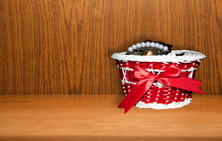 gift basket: Red gift basket isolated on a white background Stock Photo