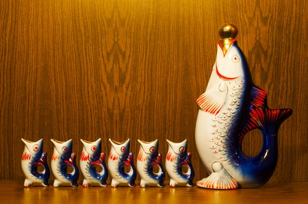 decanter: Unusual decanter with shot glasses in the form of fishes