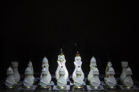 tablero de ajedrez: Piezas de ajedrez de hueso de ajedrez sobre un tablero de ajedrez