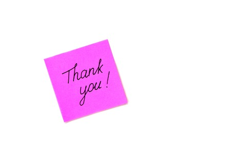 politely: Hand Writing text Thank you on lilac violet paper sticker isolated on a white background