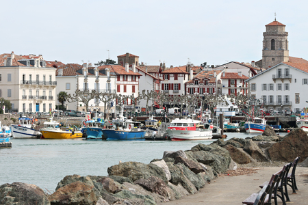 fishing harbor of Saint Jean de Luz in the Basque country Stock Photo