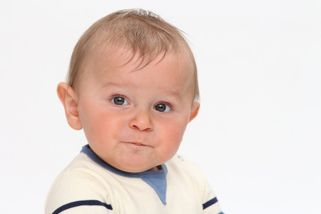 Happy baby on white background Banque d'images - 87926863