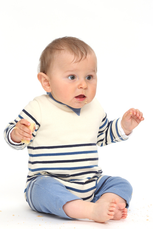 Happy baby on white background Banque d'images - 87926659