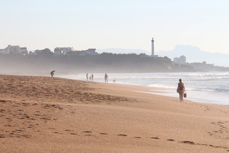 beach of the madrague with anglet and lighthouse of biarritz Banque d'images - 87942754