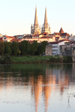 cathedral of bayonne at sunrise Stock Photo