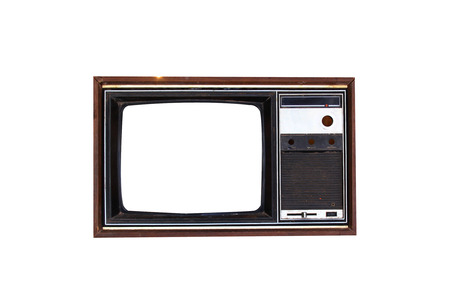 Vintage Television set isolated on white background photo