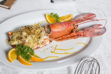 Baked lobster with cheese photo