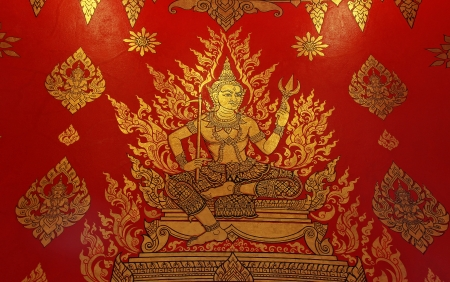 Thai style painting art old on temple wall photo