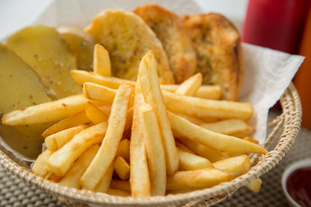 frites: Traditional French fries with ketchup and bread Stock Photo