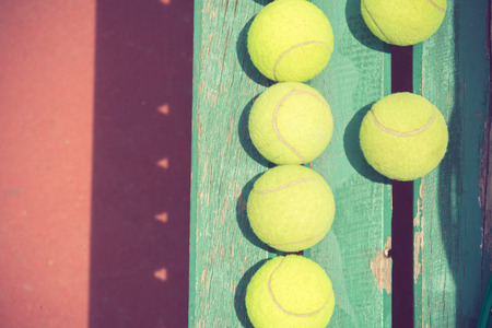 Tennis Ball on the Court vintage color photo