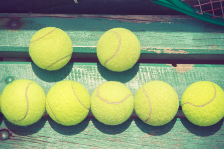 avocation: Tennis Ball on the Court Stock Photo