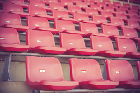 Empty seats in stadium vintage color Stock Photo