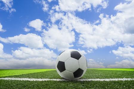 Soccer blue sky background or Football in the blue sky  background Standard-Bild