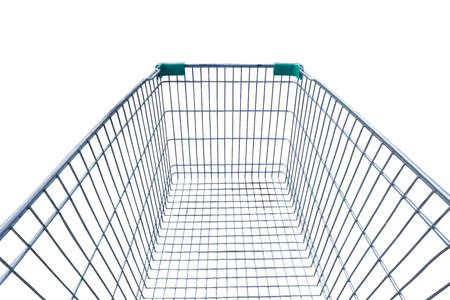 Empty shopping cart isolated on white background.