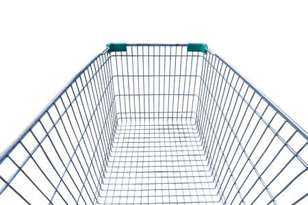 Empty shopping cart isolated on white background.