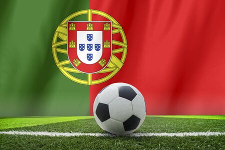 footwork: soccer ball in front of the Portugal flag Stock Photo