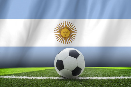 argentina flag: soccer ball and Argentina flag