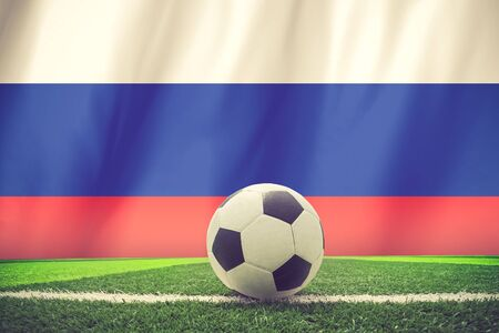 european championship: Russia flag with championship soccer ball vintage color Stock Photo