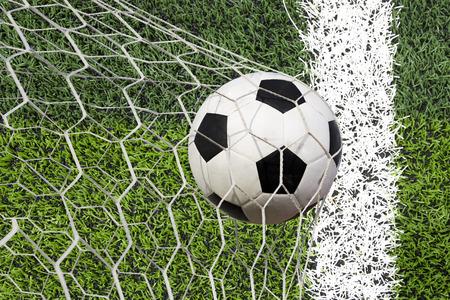 goal line: soccer ball in goal Stock Photo